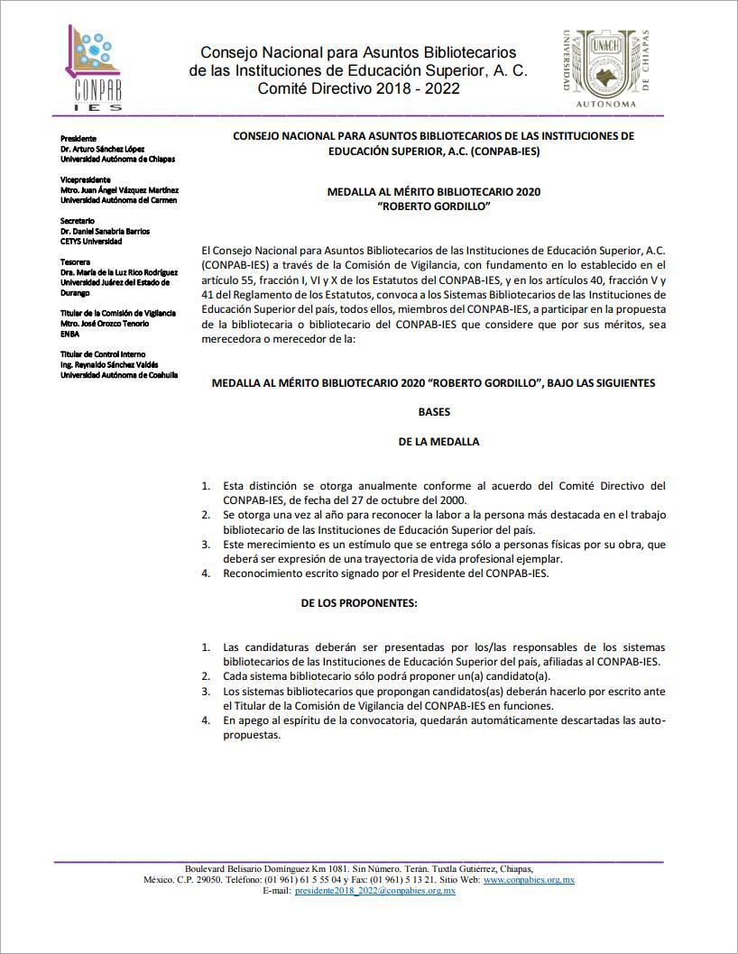 Portada de Convocatoria a la MEDALLA AL MÉRITO BIBLIOTECARIO 2020 ROBERTO GORDILLO